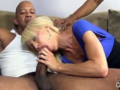Blacks On Cougars brings you a hell of a free interracial porn video where you can see how the hot blonde milf Shane Diesel enjoys two big black cocks and gets creamed.