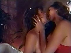 Horny dark haired sex bombs with big boobs pleased one another with hard strapon until their common friend came. He got to hammer them one by one in doggy pose. Have a look at that dirty 3 some in The Classic Porn sex clip!