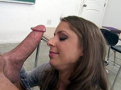 Lusty leggy bitch has mutual oral sex with hunky man. Lassie gets her soaking cunny screwed mish and doggystyle. Then she rides man's huge pecker on top and gets facialed.