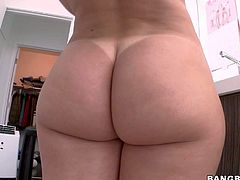 Tattooed flirty blonde Stevie Shae finds her big booty just perfect and she takes off her white panties to show it all. She spreads her buttocks making no secret of her beautiful pink pussy.