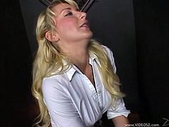 Missy Woods is such a dirty little slut. She is playing with an erect dick through the gloryhole and she can't wait to get it shoved deep inside of her.