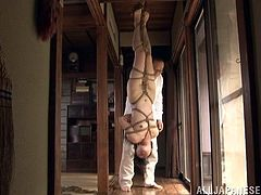 Submissive Japanese girl Sayoko strips and shows her nude body to a man. Then the dude binds the chick and hangs her up.