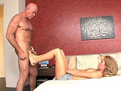 This tough step dad has always had a thing for his sweet and innocent step daughter. Today the two are going to act on their feelings. He sucks on her nipples and the two kiss passionately before he sucks on her toes and gets a feetjob from her.