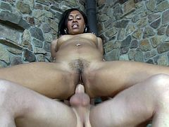 Stunning black seductress has mutual oral sex with dude before getting her trench screwed mish and doggystyle. Then she rides that dick on top and gets facial cumshot.