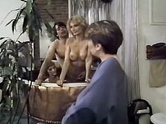 Light haired dirty whores were invited in jacuzzi to give hard deep throat to one starving stud. Take a look at that dirty FFM fuck in The Classic Porn sex video!