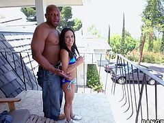 Flirty sexy chick Tia Cyrus in sexy blue bikini shows off her perfect round butt and flashes her pussy before she gets down on her knees on balcony to play with black guys massive hard cock!