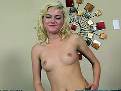 This sexually charged nympho knows how to get her man horny. She gets rid of her clothes to demonstrate her slim body. Then she masturbates in front of him. Since his dick is already hard she couldn't resist trying it out.