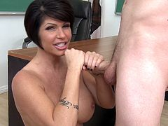The sassy big tits MILF is cock starved and she definitely needs to get her mouth stuffed with hard dick. View her nasty blowjob video and enjoy.