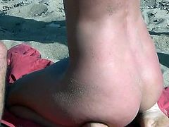 Day at the beach ends in perfect manner for steamy gal who enjoys two tasty dongs smashing her wet fanny
