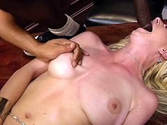 A fuckin' slut sucks on a hard cock and then takes it balls deep into her fuckin' gash, hit play and check it out right here!
