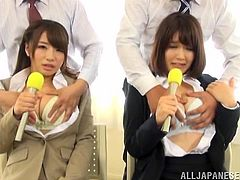 Two incredibly hot Japanese girls get nailed hard during a job interview and end up getting their gorgeous faces covered with hot cum.