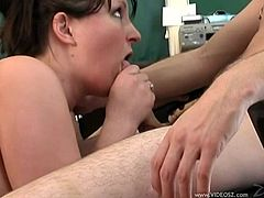 Plump brunette skank Tiswin lets a dude eat her cunt. Then she gives him a blowjob and they have sex in the missionary and other positions on a desk.