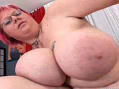 Pin haired fattie in glasses takes fresh cock up her puffy hairy cunt missionary style. BBW babe rides dick in reverse cowgirl pose and gets shagged doggystyle.