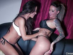 Christy Mack and Capri Cavalli are ready to have some amazing lesbian sex on the couch. Watch as these slutty bitches use various toys for some screaming orgasms.