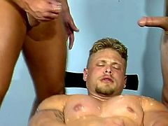 Watch this hot gay scene where these horny muscular guys end up covered by one another's warm semen after a threesome.