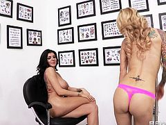 Captivating lesbians Romi Rain and Sarah Jessie are having a great time together. They lick and finger each other's vaginas, and fuck them with all the toys which they have.