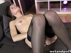 A slim babe in a lingerie and stockings makes a hot solo show. She lies down on sofa and spreads her pussy lips. Xara uses a pump and also fingers herself.