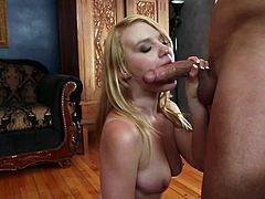 No other blonde whore can please cock with tongue and lips like Macey Moore does. This scorching blonde knows a lot about the art of pleasing men. She sucks her lover's pecker greedily. Damn, this chick is a total slut!