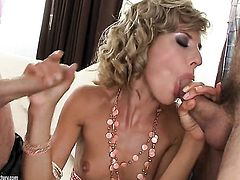 Brunette gets her mouth attacked by dudes beefy throbbing pole