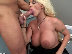 Lascivious light-haired MILF sucks big dick before getting her clam screwed mish and doggystyle. Then she rides that cock on top and gets fucked in a sideways pose until dude cums in her mouth.