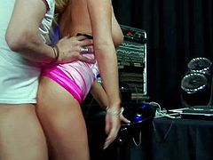 Nasty blonde Tasha Reign with meaty ass bounces on fat throbbing dick up and down without taking off her bright pink pantie. Watch Tasha Reign ride guys sturdy dick at the sound studio.