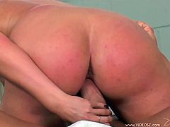 The busty blonde MILF Kylie Worthy gives this guy the hottest blowjob and ball lick to get the hard fuck she has been waiting for.