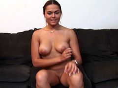 Busty brunette Arianna Armani gets paid to do what she know best: she gobbles two big mature cocks and gets double fucked hardcore.
