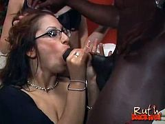 Check out horny sluts Leah Lexington and Ruth Blackwell obsessed with a big black cock. Watch as they start to blow it before taking it in their tight holes.