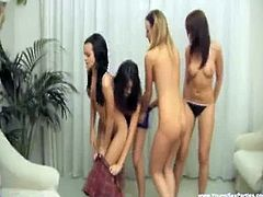 Young Sex Parties brings you a hell of a free porn video where you can see how four horny teen hotties share a cock and go lesbo. This party is gonna get much wilder!