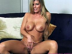 Krystal Summers is a voracious MILF with big plastic tits and juicy butt. Bitch treats her meaty clam with fingering and gives nice blowjob to her partner. Then babe gets her big boobies fucked.