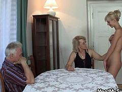 Meet My Sweet brings you a hell of a free porn video where you can see how this naughty blonde teen enjoys a threesome with a mature couple while assuming hot poses.