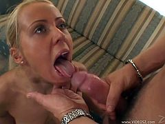 Innocent looking blonde Melanie Crush shows off her big natural tits before she gets her cute face fucked and her mouth filled with cum.
