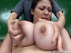 Mind blowing Japanese goddess takes erected cock in her mouth