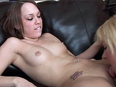 Horny and sensual chicks getting all dirty during classy oral masturbation show on the couch
