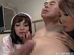 Watch this hot scene where these naughty Asian nurses have a threesome with a horny old patient that leaves them covered by semen.