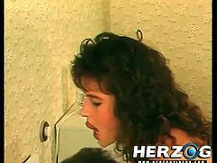 Herzog Videos brings you a hell of a free porn video where you can see how this horny vintage brunette in stockings gets banged hard and deep into a massive orgasm.