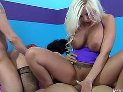 Sexy whores Britney Amber and Andy San Dimas take part in group sex adventure