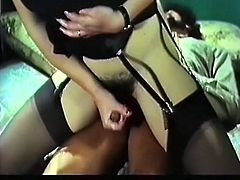 Raven haired rapacious bitch in black sexy stockings enjoyed getting her impossibly hairy pussy fucked in reverse cowgirl pose.Watch that zealous bim in The Classic Porn sex video!