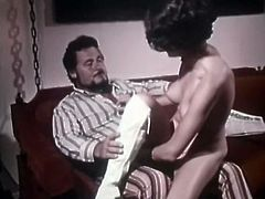 Short and black haired lassie with big tits adores to bounce on hot sausages of mature studs. Have a look at that rapacious hoe in The Classic Porn sex clip!