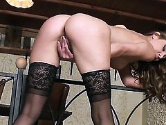 Cindy Hope with small boobs and hairless twat cant stop touching her vagina