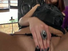 Dark haired torrid filth in leather corset and black fishnets posed on sofa with legs spread and set to touch her hot pussy greedily. Take a look at that steamy solo in Fame Digital porn video!