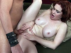 Chunky redhead goddess sucks fat cock and gets her juicy twat banged mish. Then she bounces on that pecker on top and gets her hairy poontang doggyfucked.