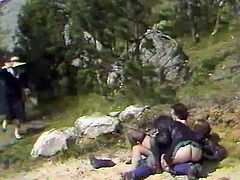 A couple of kinky studs fucked lusty black haired girlie right in forest