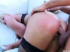 Check out this hardcore outdoors scene where the busty Sadie Swede is fucked by this guy while she wears stockings after showing off her body.