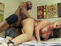 Curvaceous blonde mommy ha got big juicy jugs. She rides big black dick in cowgirl position. Then she gets fucked in sideways. Kinky interracial fuck video.