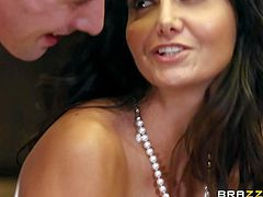 Ava Addams and her bets friend Nina Elle are perfect bodied MILFs with huge tits and sexy asses. They share young hard dicked in the kitchen and cant get enough. Lucky dude gets sandwiched between two gorgeous big racked moms.