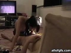 Comely Korean girl with pretty face gives blowjob on private tape