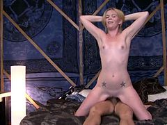 A sexy, blonde cougar with small tits and a hot ass enjoys a hardcore, cowgirl style fuck. Hear her scream with pleasure now!