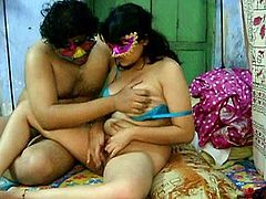 Things are close to getting really nasty as busty Indian wife plays along hunk's dirty game