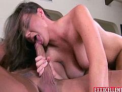 Touch yourself as you watch this brunette MILF, with a nice ass and big jugs, while she goes hardcore with a horny fellow and moans loudly.